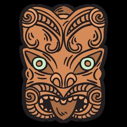 Mão de máscara maori desenhada