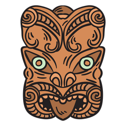 Maori mask hand drawn