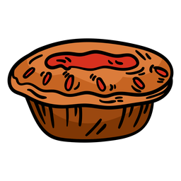 Meat pie hand drawn