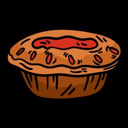 Torta de carne mão desenhada