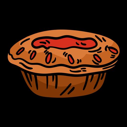 Meat pie hand drawn
