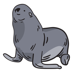 Seal animal hand drawn
