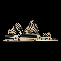 A casa de ópera de sydney desenhada à mão
