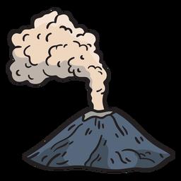 Erupción volcánica dibujada a mano