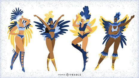 Personagens de dançarinas femininas de carnaval