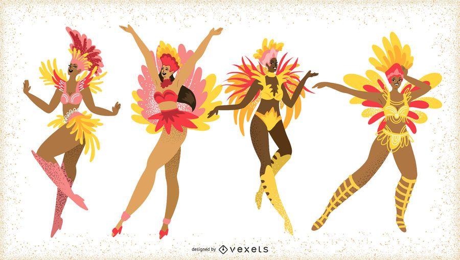 Pacote de personagens de mulheres de carnaval