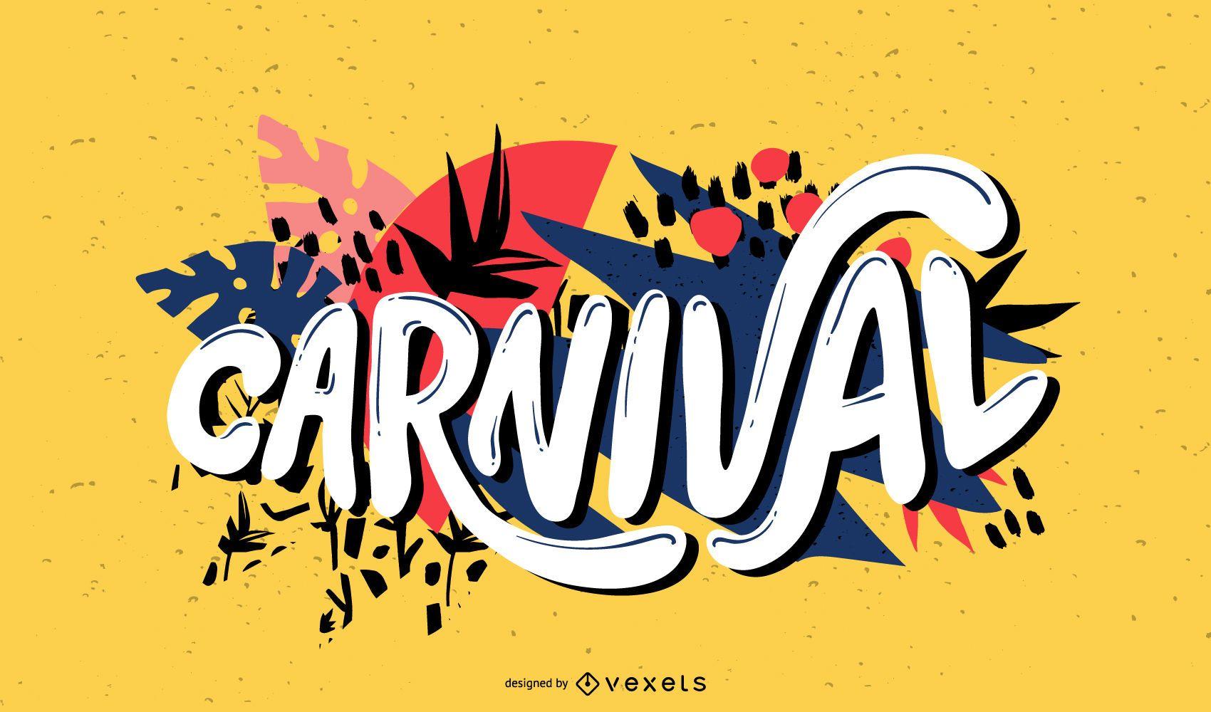 Diseño de letras de escritura a mano de carnaval