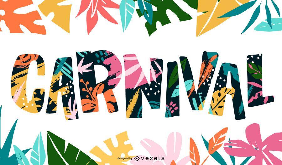 Design de letras tropicais de carnaval
