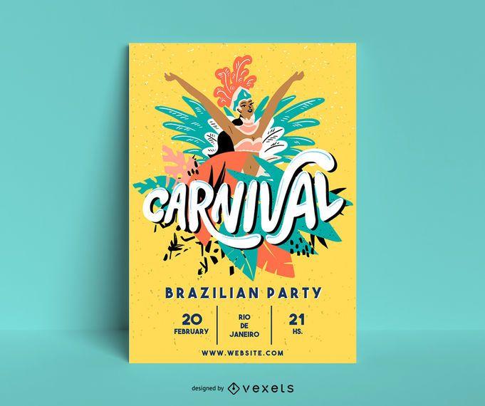Design de cartaz de ilustração de carnaval