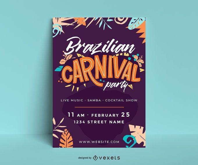 Cartaz de festa de carnaval brasileiro