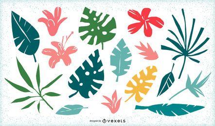 Tropische Blumen und Blätter packen