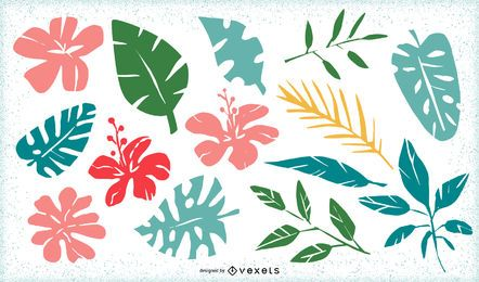Tropical leaves and flowers pack