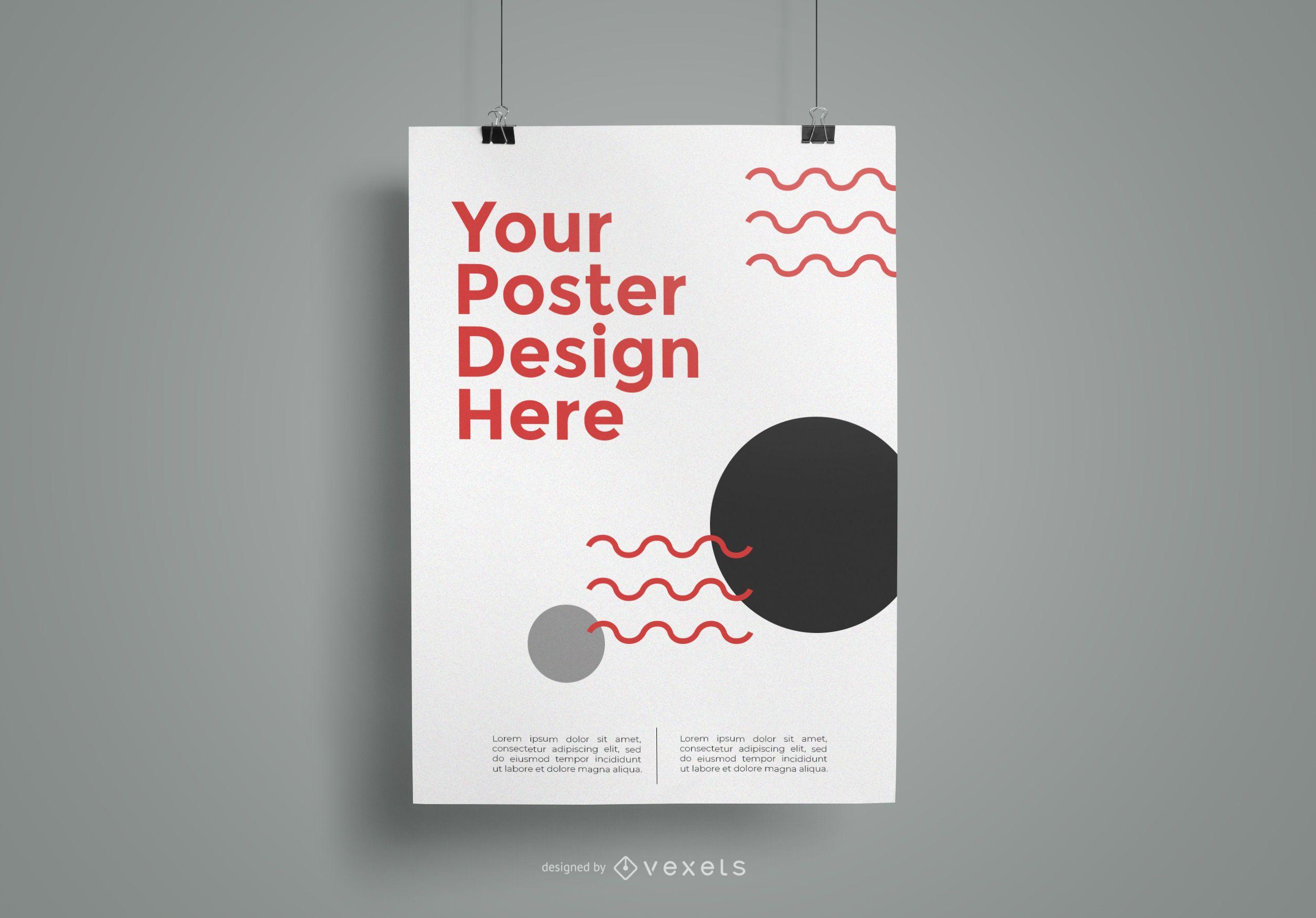 Hanging poster mockup design
