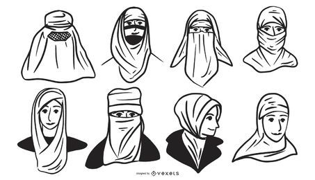 Paquete de diseño de silueta de cabeza de pueblo árabe