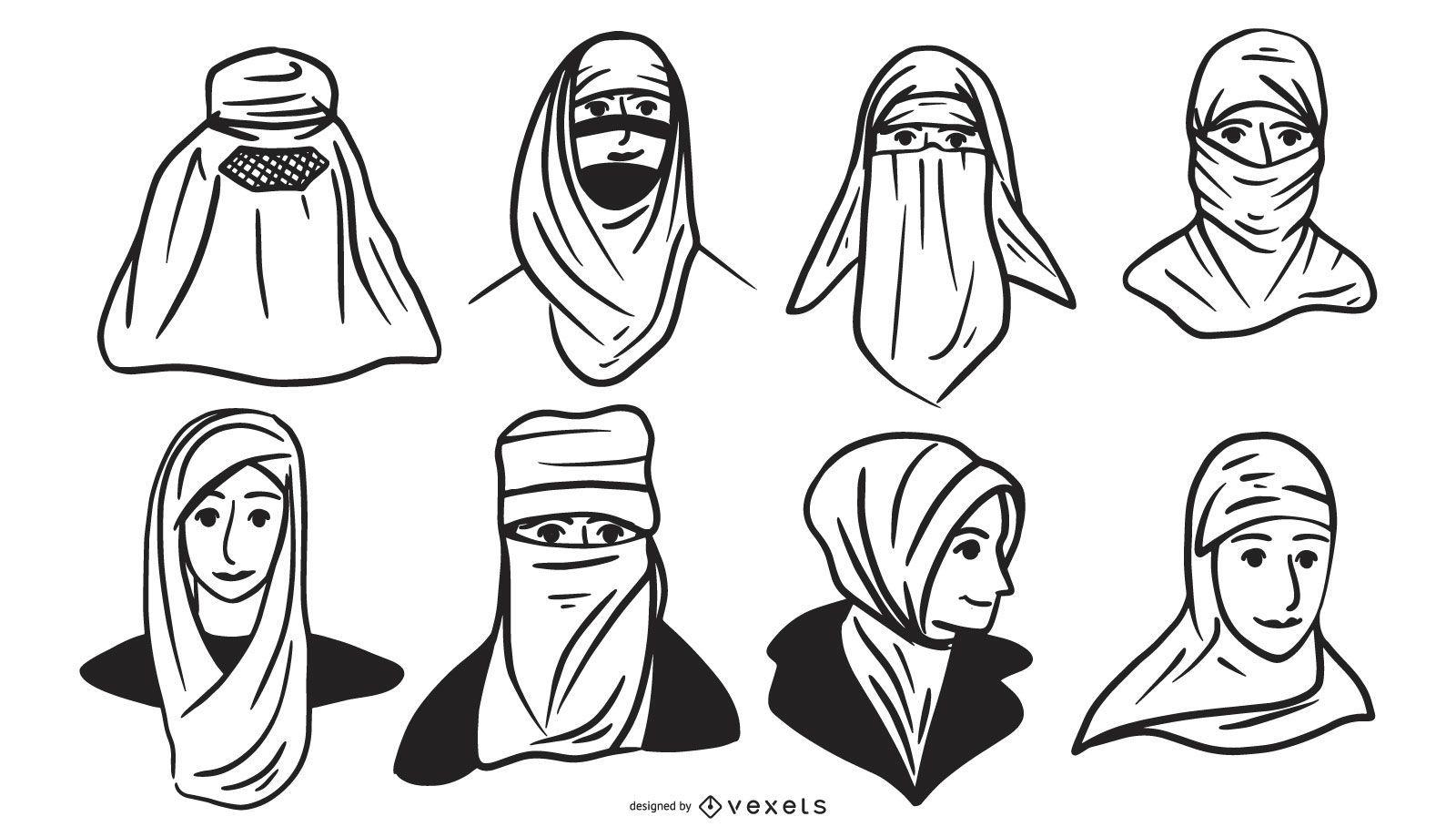 Arab People Head Silhouette Design Pack