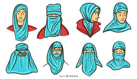 Pacote de cabeças de cor de cerceta de pessoas árabes