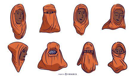 Conjunto de design laranja de cabeça de povo árabe