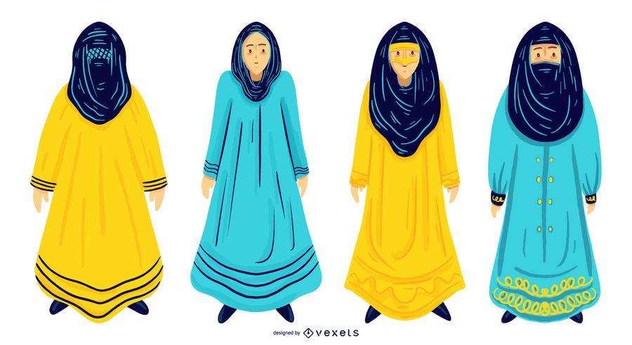 Conjunto de design de mulheres árabes