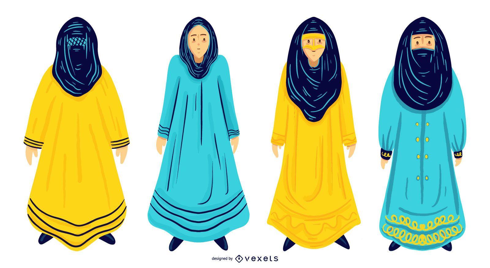 Conjunto de diseño de mujeres árabes
