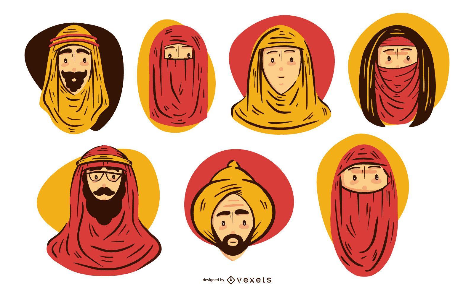 Conjunto de ilustración de cabeza de pueblo árabe
