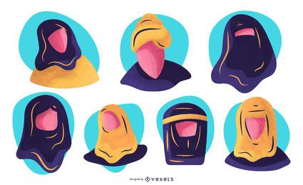 Arab People Face Illustration Set