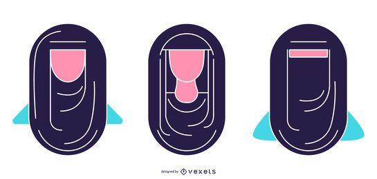 Conjunto de cabeza de ilustración simple de pueblo árabe