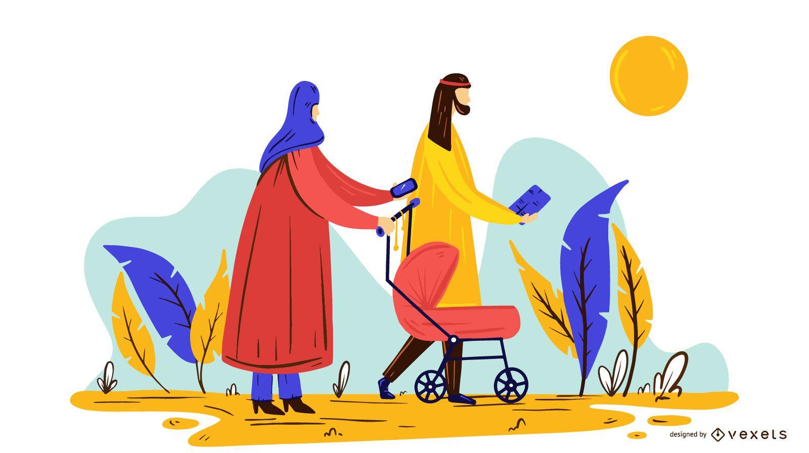 Ilustración de pareja árabe con gente bebé
