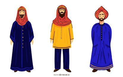 Pacote de ilustração de personagens de homens árabes