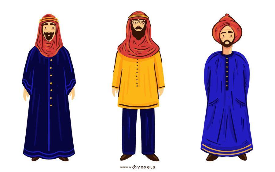 Arab Men Character Illustration Pack