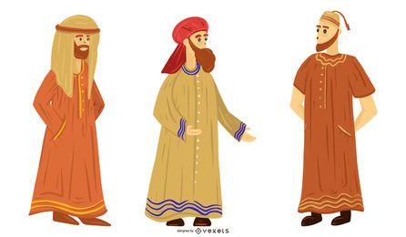 Conjunto de ilustración de pueblo árabe