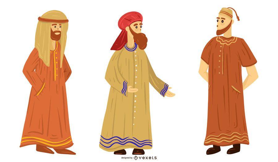 Arab People Illustration Set