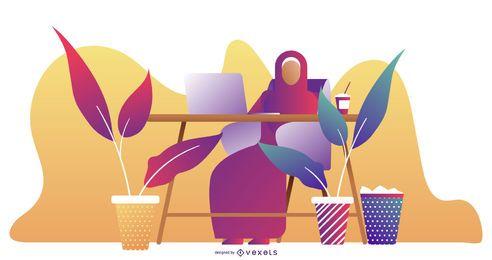 Diseño de ilustración de mujer árabe