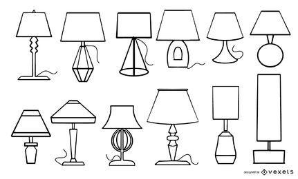 Coleção de traços de lâmpadas de mesa