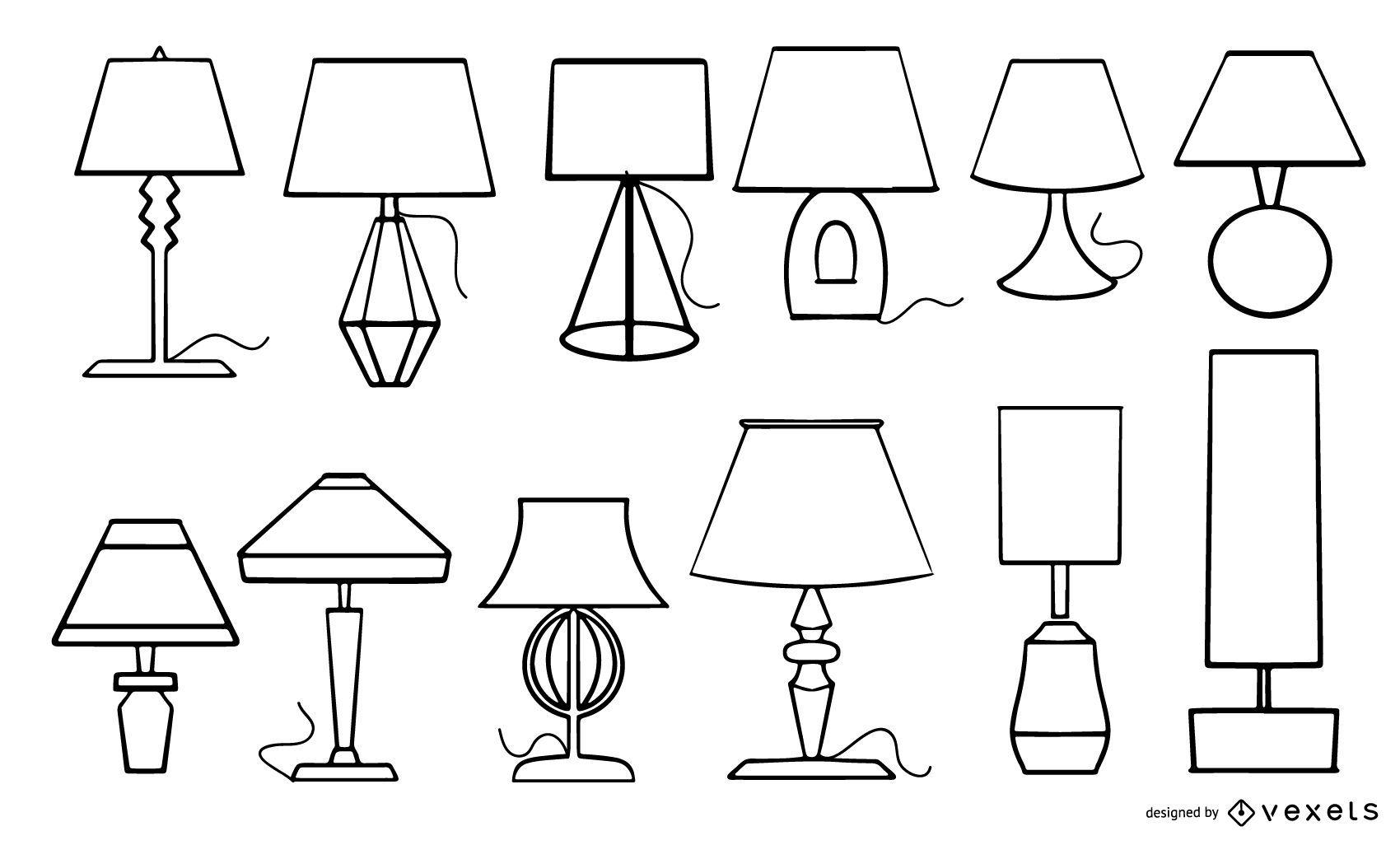 Colección de trazos de lámparas de escritorio
