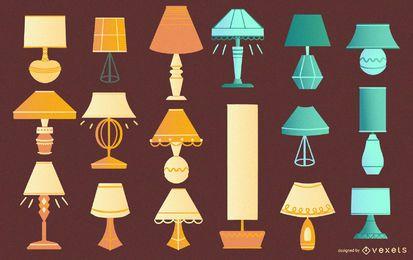 Coleção de lâmpadas de mesa plana