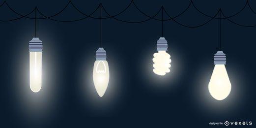 Pacote de design de lâmpada acesa