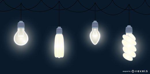 Pacote de design plano de lâmpada
