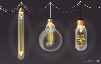 Conjunto de ilustração de lâmpada retrô