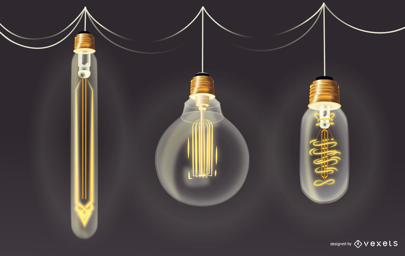 Retro Light Bulb Illustration Set