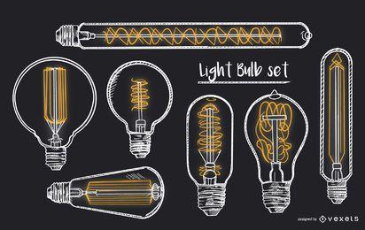 Conjunto de ilustração de lâmpada vintage