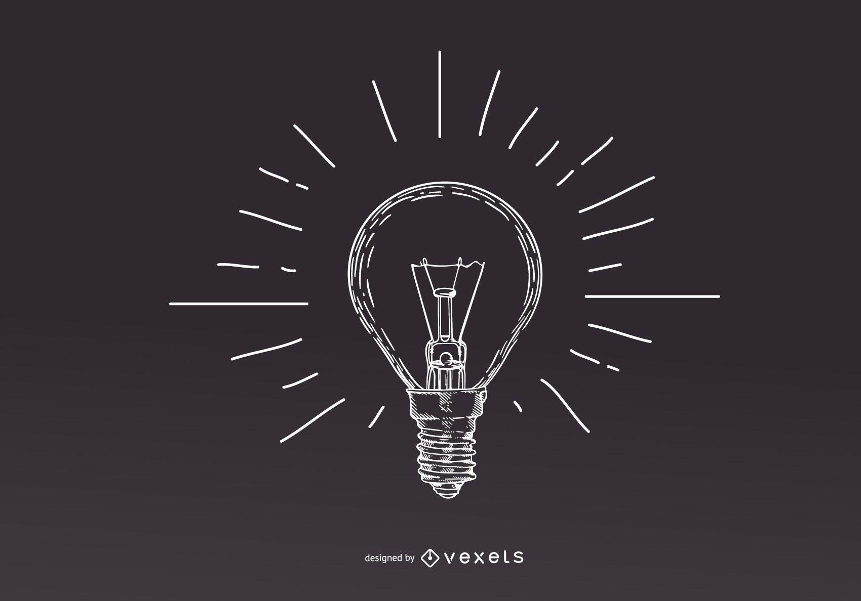 Diseño de ilustración de bombilla de luz de trazo