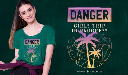 Mädchen Reise T-Shirt Design