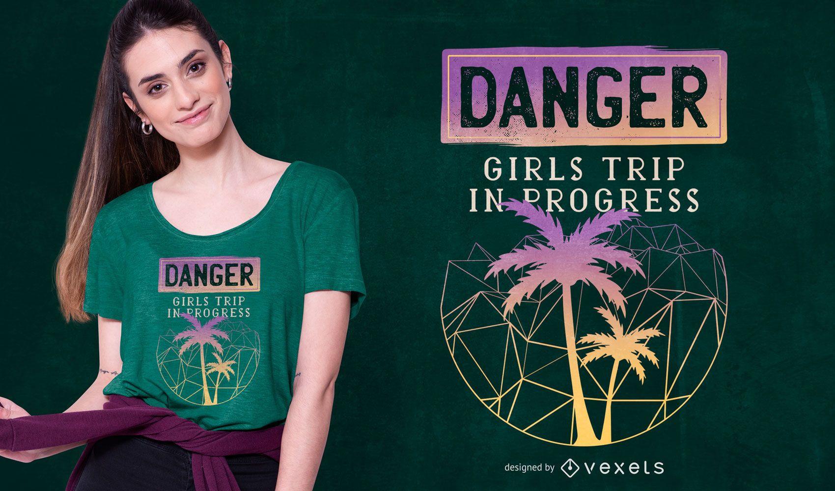Diseño de camiseta de viaje para niñas.