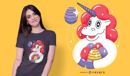 Diseño de camiseta de unicornio de Pascua