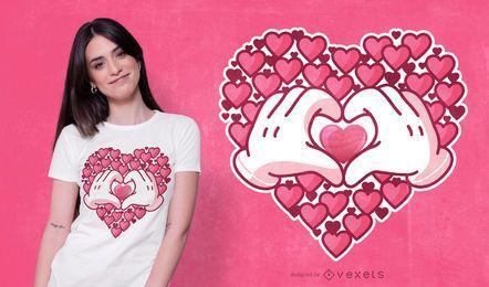 Design de t-shirt de mãos de corações