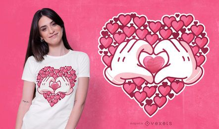 Diseño de camiseta Hearts Hands