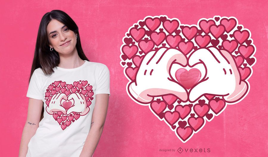 Hearts Hands T-shirt Design