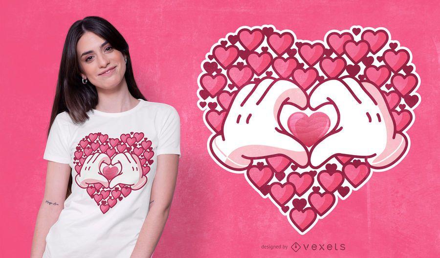 Herz-Handt-shirt Entwurf