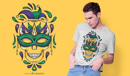 Diseño de camiseta de calavera de mardi gras
