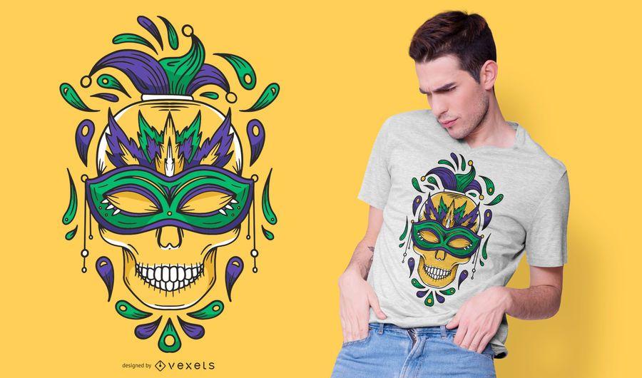 Diseño de camiseta de calavera de carnaval